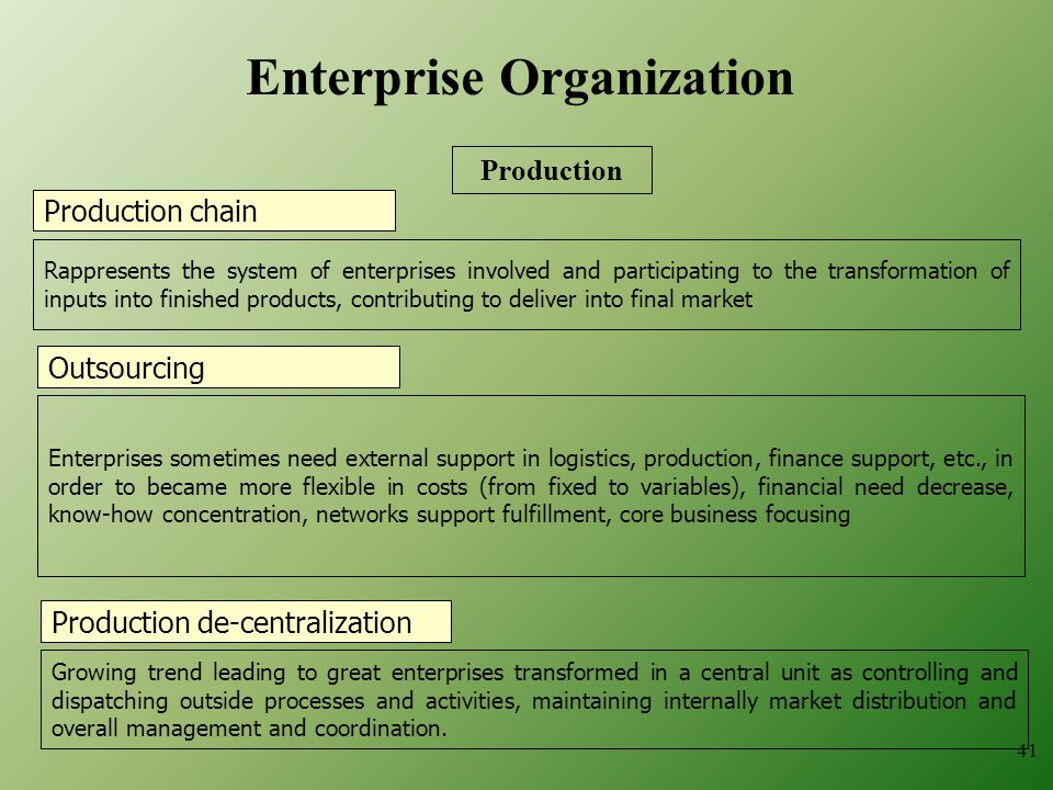 Production chain Rappresents the system of enterprises involved and participating to the transformation of inputs into finished products, contributing to deliver into final market Production de-centralization Growing trend leading to great enterprises transformed in a central unit as controlling and dispatching outside processes and activities, maintaining internally market distribution and overall management and coordination.