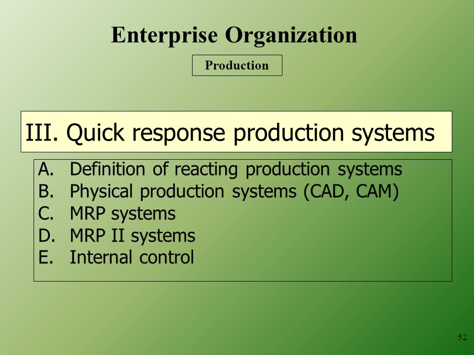 III. Quick response production systems A.Definition of reacting production systems B.Physical production systems (CAD, CAM) C.MRP systems D.MRP II sys
