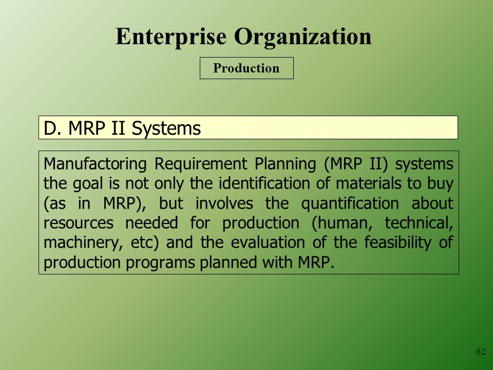 D. MRP II Systems Manufactoring Requirement Planning (MRP II) systems the goal is not only the identification of materials to buy (as in MRP), but inv