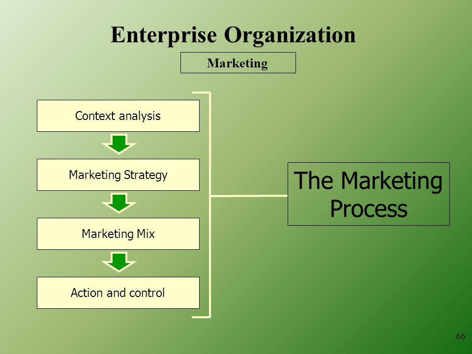The Marketing Process Context analysis Marketing Strategy Marketing Mix Action and control Marketing 66 Enterprise Organization