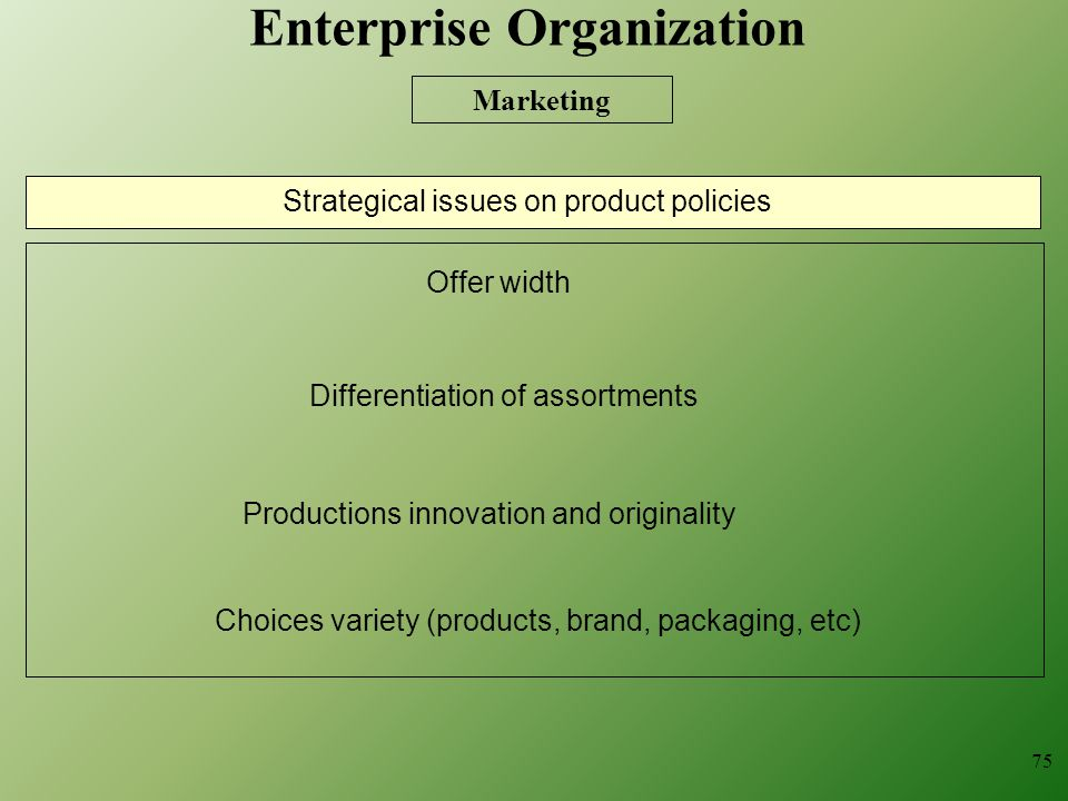75 Strategical issues on product policies Differentiation of assortments Choices variety (products, brand, packaging, etc) Offer width Productions innovation and originality Marketing Enterprise Organization