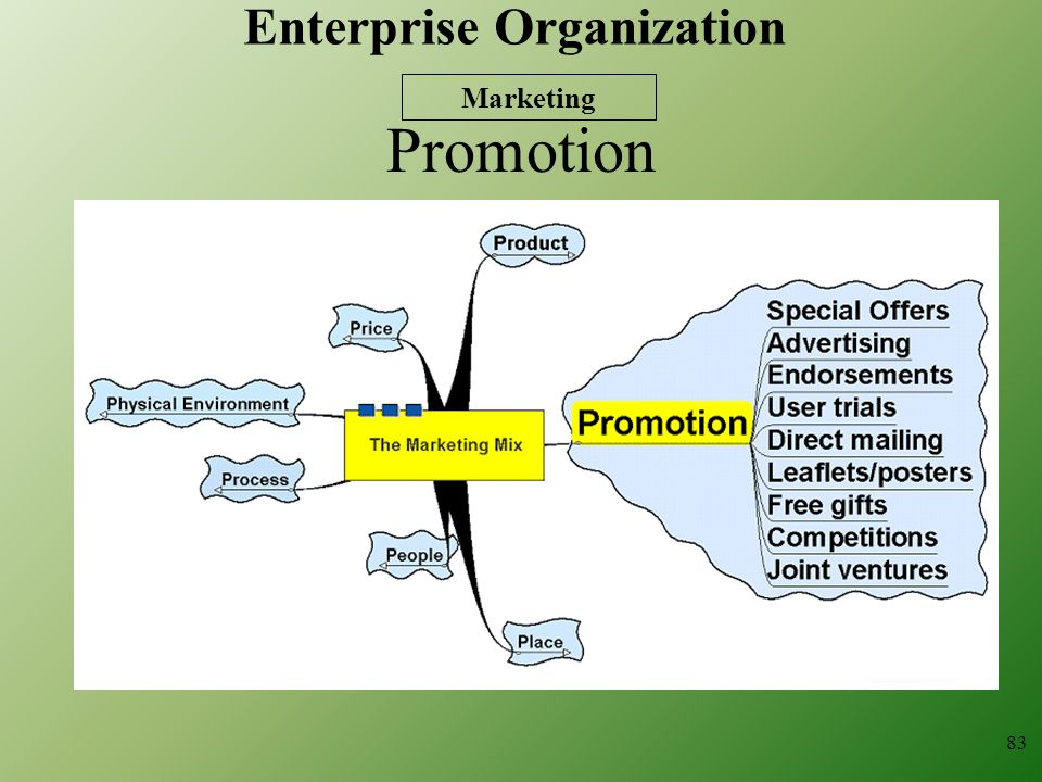 Promotion 83 Marketing Enterprise Organization