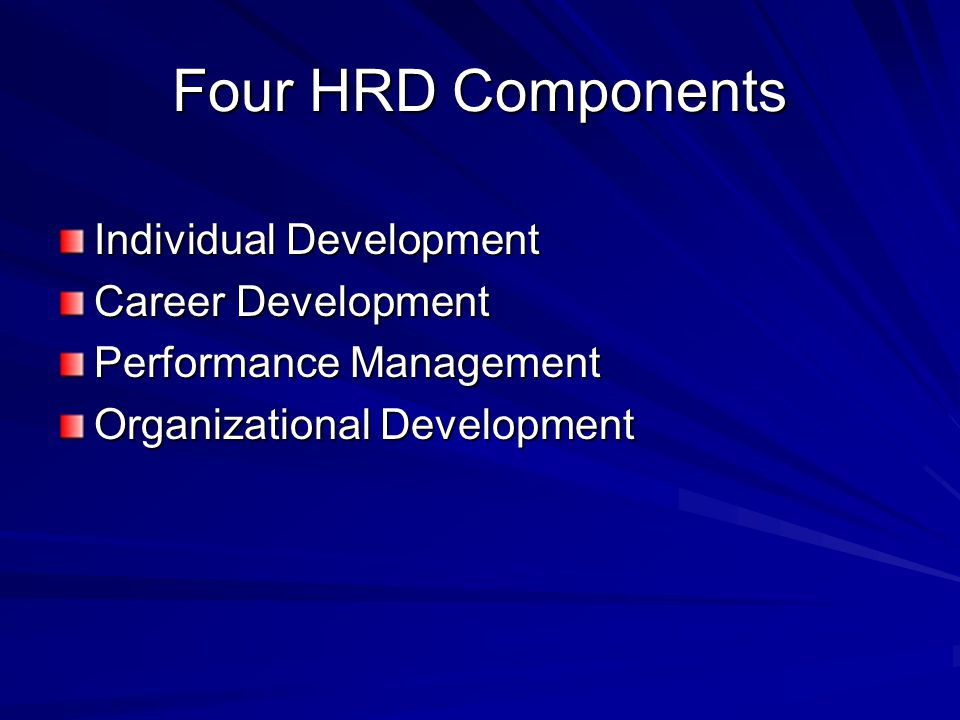 Four HRD Components Individual Development Career Development Performance Management Organizational Development