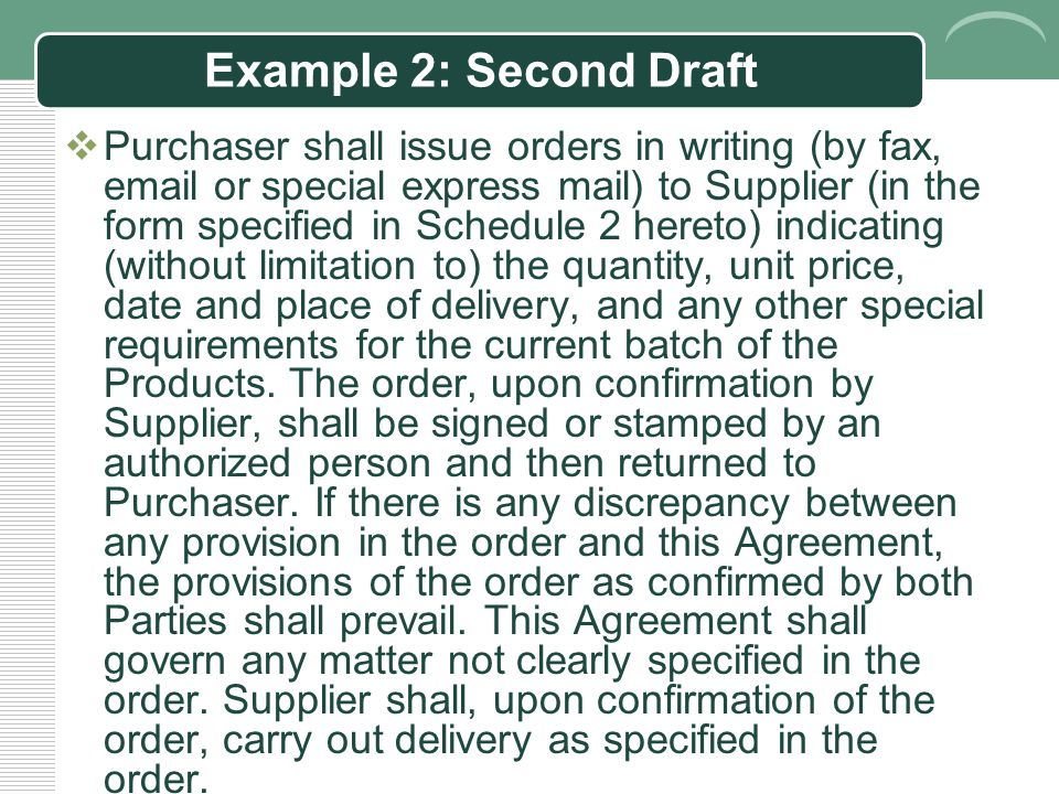 Example 2: First Draft  Party A shall issue order (format set out in Appendix II) to Party B in writing (fax, e-mail and express mail), which specifies the amount, unit price, time and place of delivery, and other specific requirements of the Products.