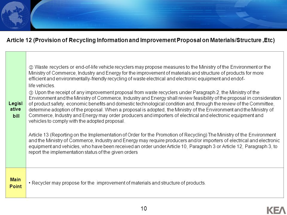 10 Article 12 (Provision of Recycling Information and Improvement Proposal on Materials/Structure,Etc) Legisl ative bill ② Waste recyclers or end-of-l
