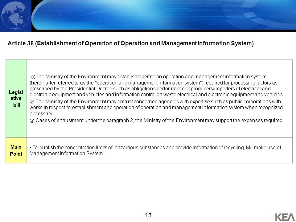 13 Article 38 (Establishment of Operation of Operation and Management Information System) Legisl ative bill ① The Ministry of the Environment may esta