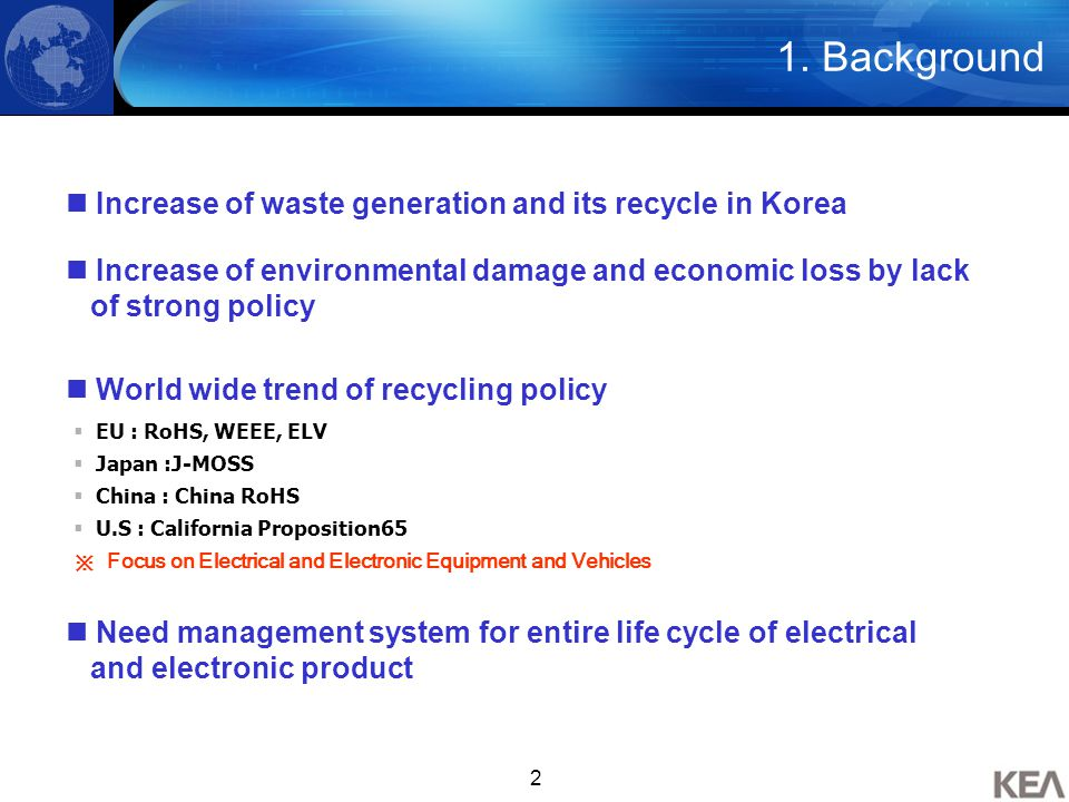 2 Increase of waste generation and its recycle in Korea  EU : RoHS, WEEE, ELV  Japan :J-MOSS  China : China RoHS  U.S : California Proposition65 ※