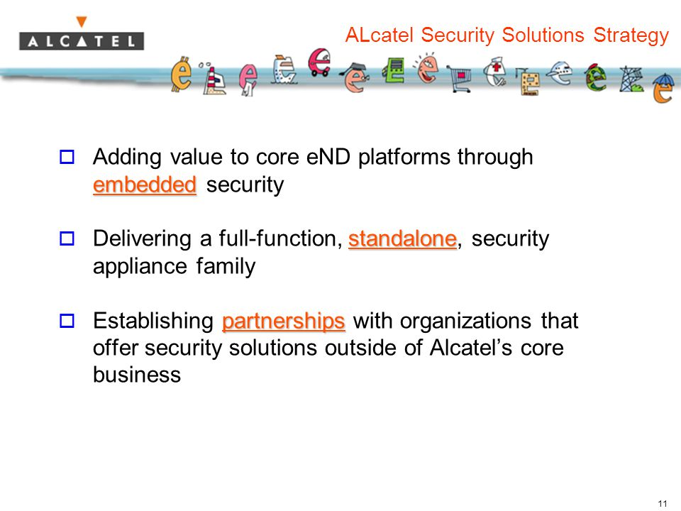 11 ALcatel Security Solutions Strategy embedded  Adding value to core eND platforms through embedded security standalone  Delivering a full-function, standalone, security appliance family partnerships  Establishing partnerships with organizations that offer security solutions outside of Alcatel's core business
