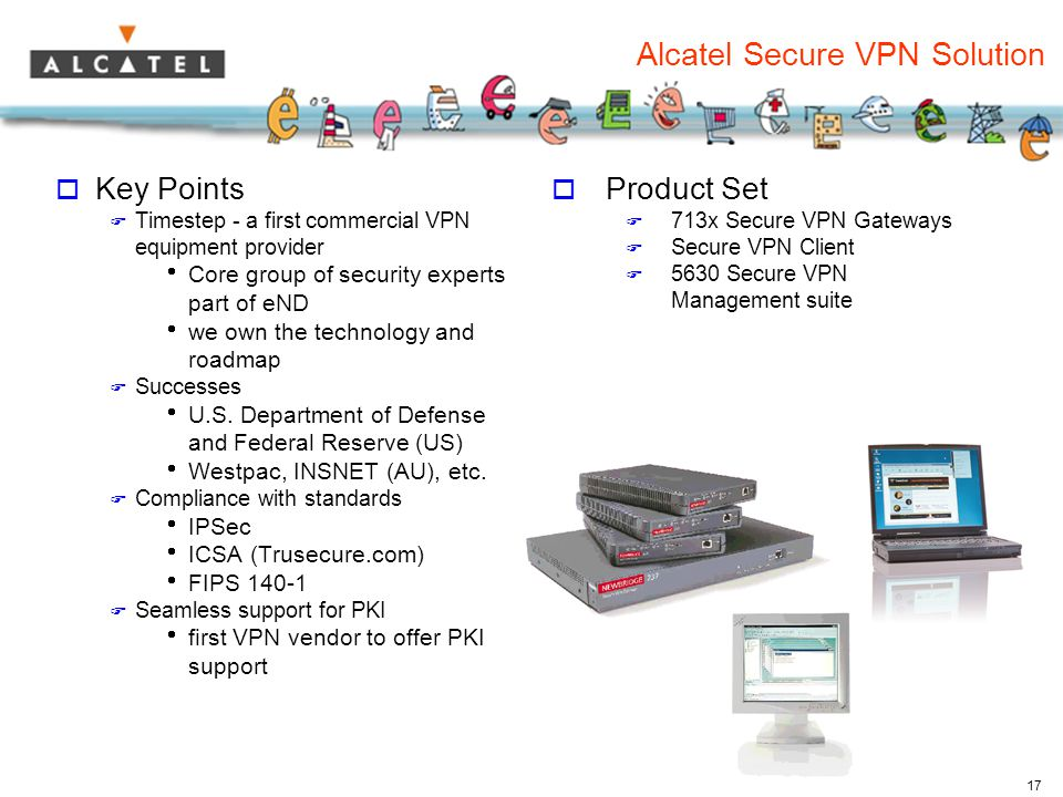 17 Alcatel Secure VPN Solution  Key Points  Timestep - a first commercial VPN equipment provider  Core group of security experts part of eND  we own the technology and roadmap  Successes  U.S.