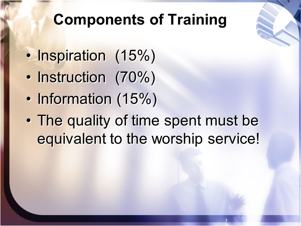 Components of Training Inspiration (15%) Instruction (70%) Information (15%) The quality of time spent must be equivalent to the worship service! Insp