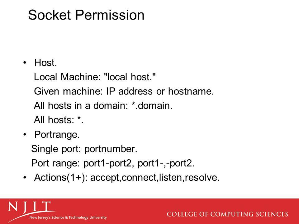 Socket Permission Host. Local Machine: