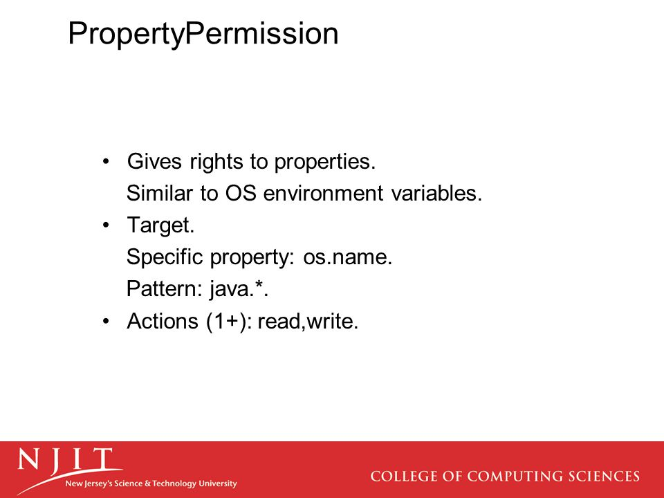 PropertyPermission Gives rights to properties. Similar to OS environment variables.