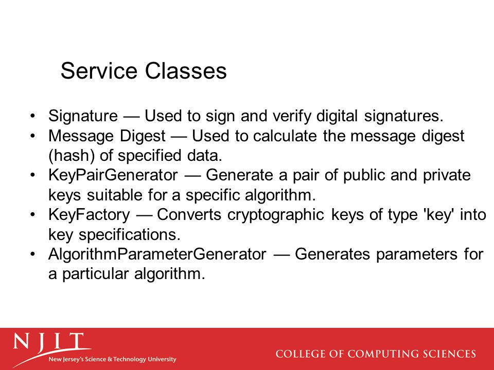 Service Classes Signature — Used to sign and verify digital signatures.