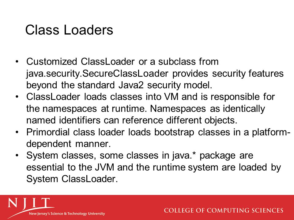 Core security java.security.Contains most security classes and interfaces.