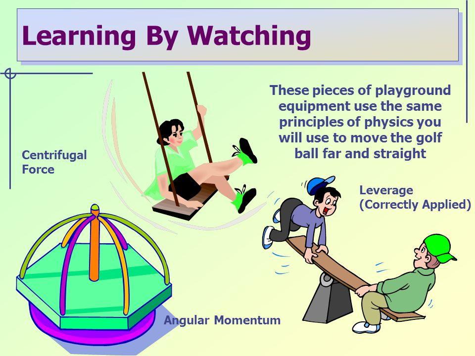 Learning By Watching These pieces of playground equipment use the same principles of physics you will use to move the golf ball far and straight Centrifugal Force Angular Momentum Leverage (Correctly Applied)