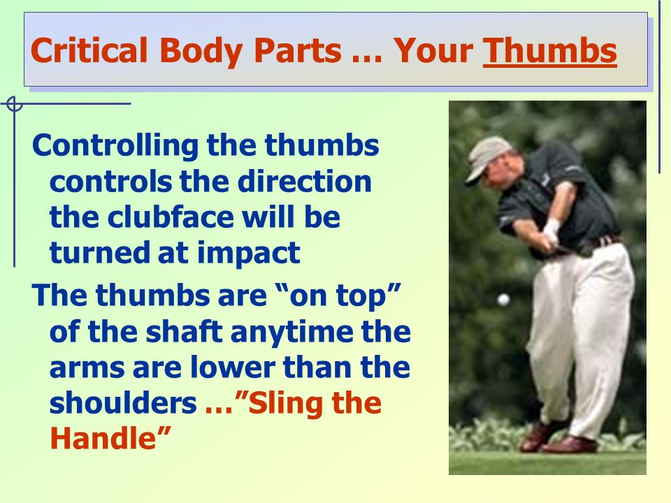 Critical Body Parts … Your Thumbs Controlling the thumbs controls the direction the clubface will be turned at impact The thumbs are on top of the shaft anytime the arms are lower than the shoulders … Sling the Handle