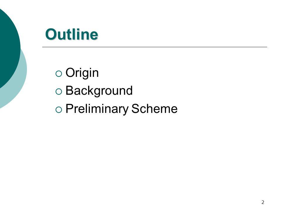 2 Outline  Origin  Background  Preliminary Scheme