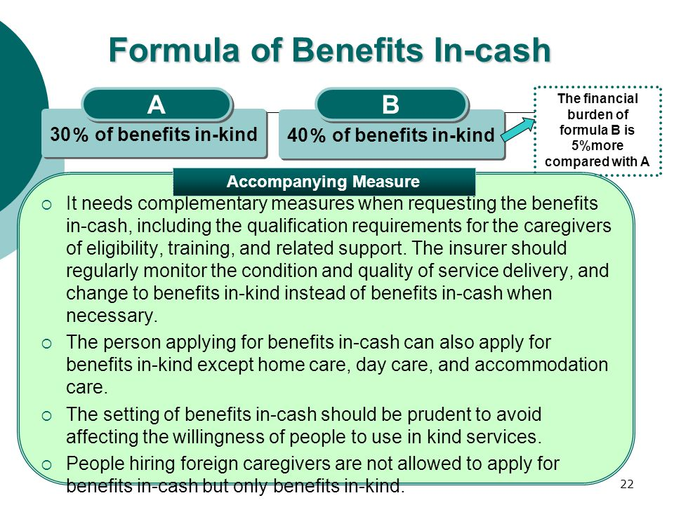22 Formula of Benefits In-cash 30 % of benefits in-kind A A 40 % of benefits in-kind B B The financial burden of formula B is 5%more compared with A 