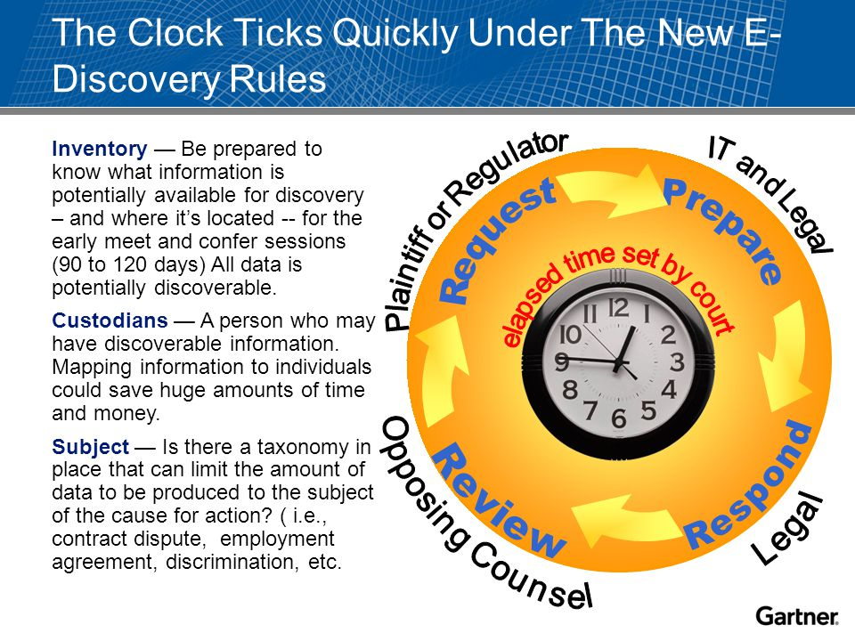 The Clock Ticks Quickly Under The New E- Discovery Rules Inventory — Be prepared to know what information is potentially available for discovery – and where it's located -- for the early meet and confer sessions (90 to 120 days) All data is potentially discoverable.