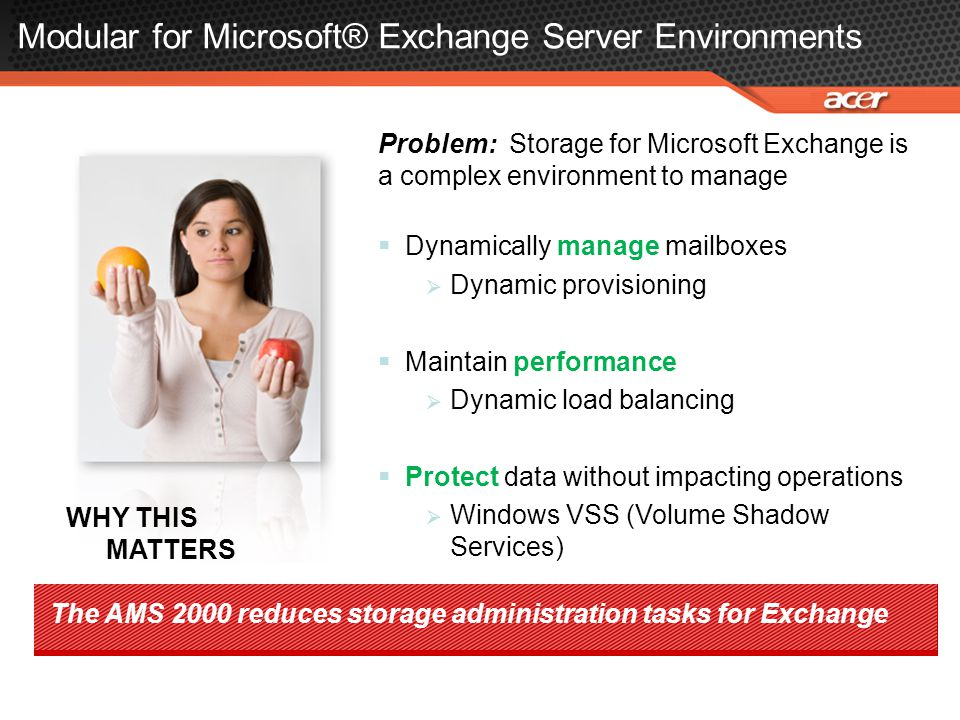Modular for Microsoft® Exchange Server Environments Problem: Storage for Microsoft Exchange is a complex environment to manage  Dynamically manage ma