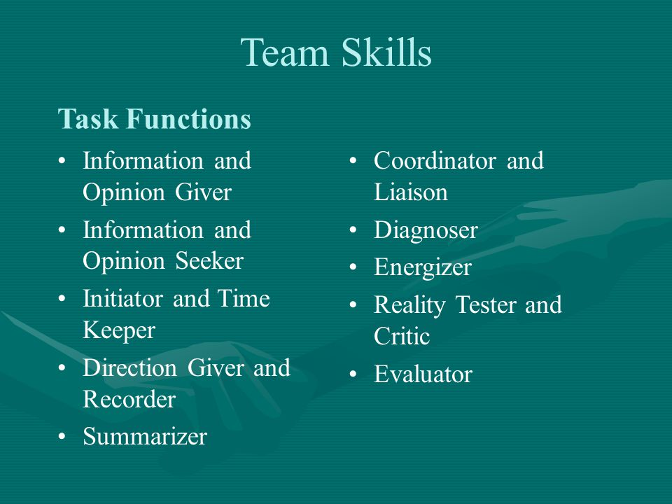 Information and Opinion Giver Information and Opinion Seeker Initiator and Time Keeper Direction Giver and Recorder Summarizer Coordinator and Liaison Diagnoser Energizer Reality Tester and Critic Evaluator Task Functions Team Skills