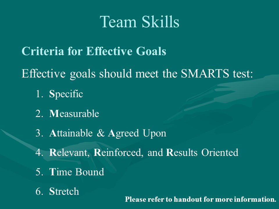Criteria for Effective Goals Effective goals should meet the SMARTS test: 1.