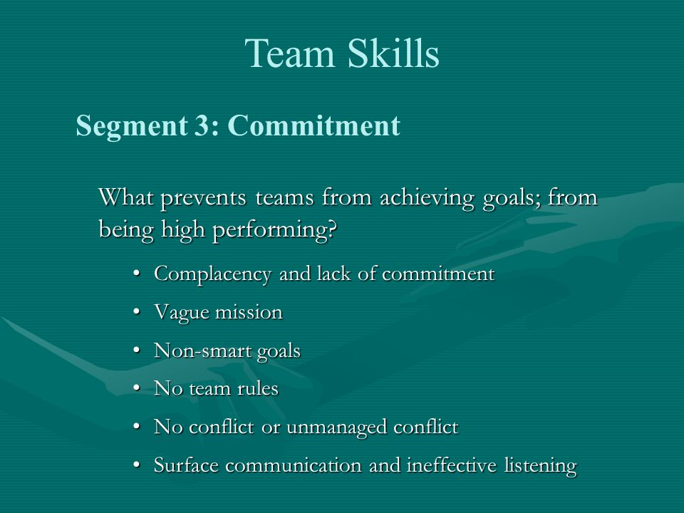 What prevents teams from achieving goals; from being high performing.