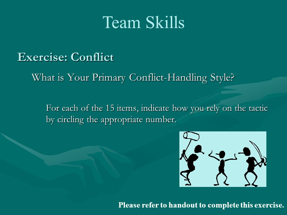 Exercise: Conflict What is Your Primary Conflict-Handling Style.