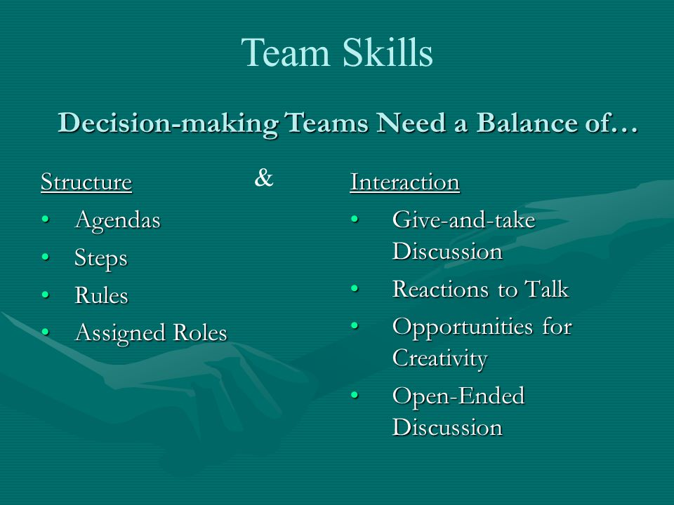 Structure AgendasAgendas StepsSteps RulesRules Assigned RolesAssigned Roles Interaction Give-and-take Discussion Reactions to Talk Opportunities for Creativity Open-Ended Discussion Decision-making Teams Need a Balance of… & Team Skills