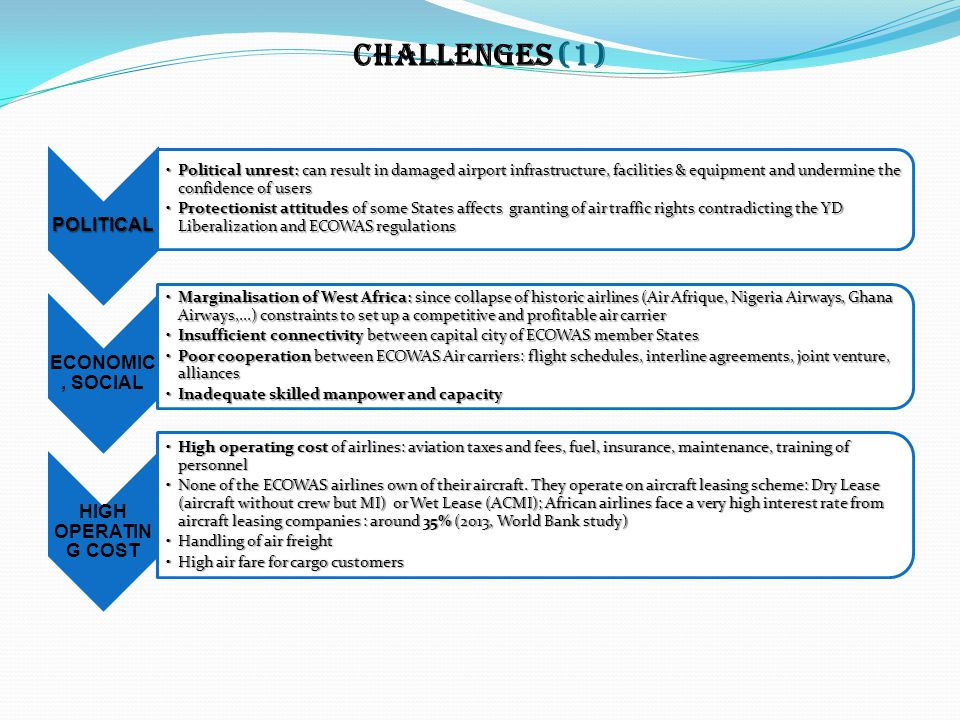 CHALLENGES (1) POLITICAL Political unrest: can result in damaged airport infrastructure, facilities & equipment and undermine the confidence of usersP