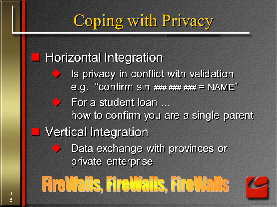 15 Coping with Privacy Horizontal Integration  Is privacy in conflict with validation e.g.