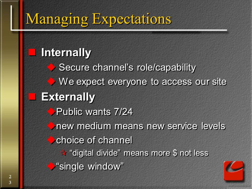 23 Managing Expectations Internally  Secure channel's role/capability  We expect everyone to access our site Externally  Public wants 7/24  new me