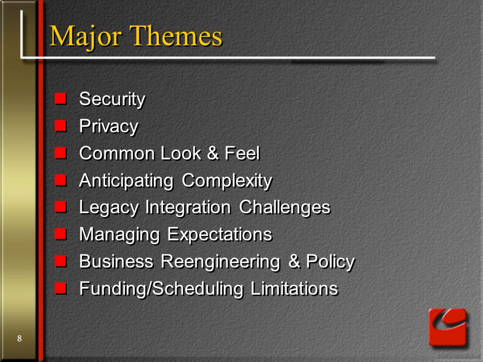 8 Major Themes Security Privacy Common Look & Feel Anticipating Complexity Legacy Integration Challenges Managing Expectations Business Reengineering
