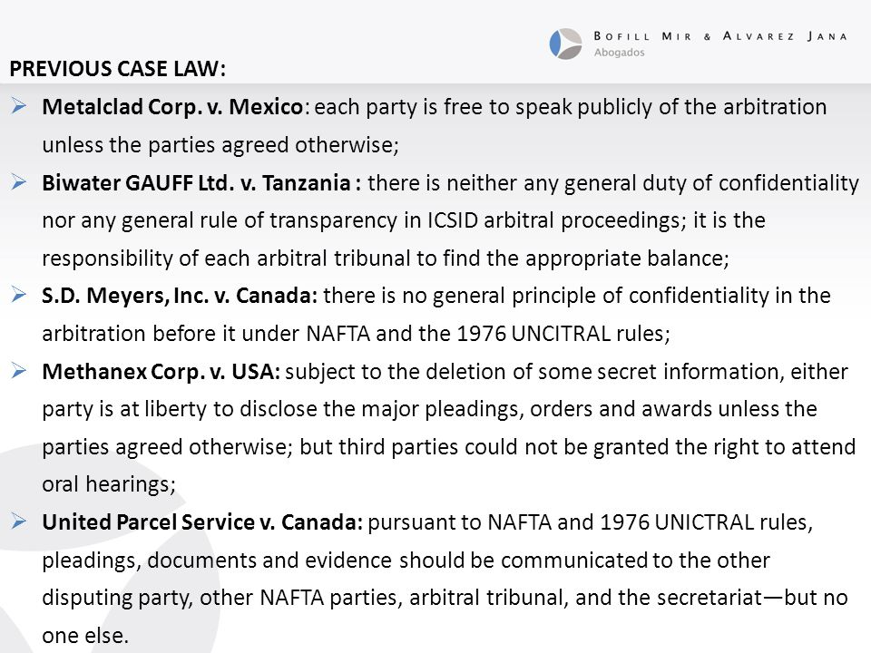 PREVIOUS CASE LAW:  Metalclad Corp. v.