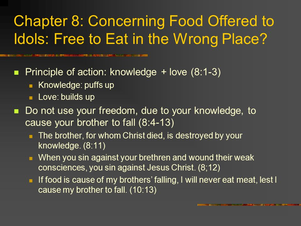 Chapter 8: Concerning Food Offered to Idols: Free to Eat in the Wrong Place.