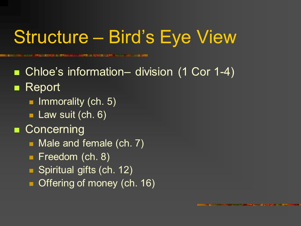 Structure – Bird's Eye View Chloe's information– division (1 Cor 1-4) Report Immorality (ch.