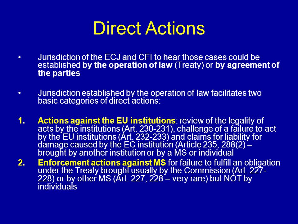 Importance of Preliminary Rulings Opened the channel for litigation before the ECJ independent of the Commission Enhanced the position of individual in the system of EU law creating for them an access to the ECJ (it is not easy for individuals to get locus standi in direct actions-it is easier for individuals to raise cases in national courts) Giving such an indirect access to individuals reduces the tension between the Commission and MS (the Commission does not need to confront MS in cases of non-compliance because individuals would do that before national courts) Ensures the uniform interpretation of the EU law Mechanism of indirect judicial review by the ECJ of national legislation for its compatibility with EC law (even though the ECJ has no formal power for judicial review of national legislation the judgment indicate the extent to compatibility to national courts) Gives legitimacy to ECJ and also gives national courts the important role of enforcing EU law through sanctions available in national systems (giving the EU law teeth