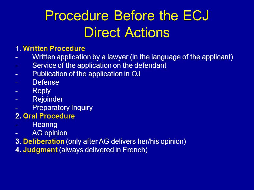 Procedure Before the ECJ Preliminary Rulings 1.