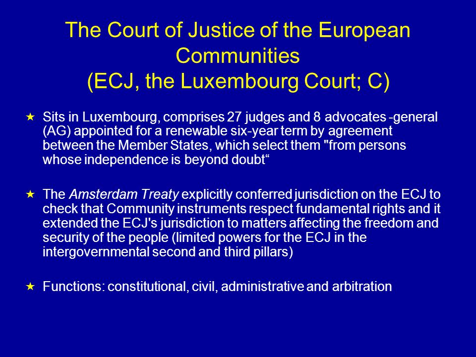 Importance of ECJ in the System of EU law Differently described by different people: - Motor for EU integration or - Political court interfering in national sovereignty Created important EU law principles: -Direct effect (Van Gend en Loos, Ratti, Von Colson, Marshall, Marleasing, etc.) -Supremacy of EU law (Costa v.