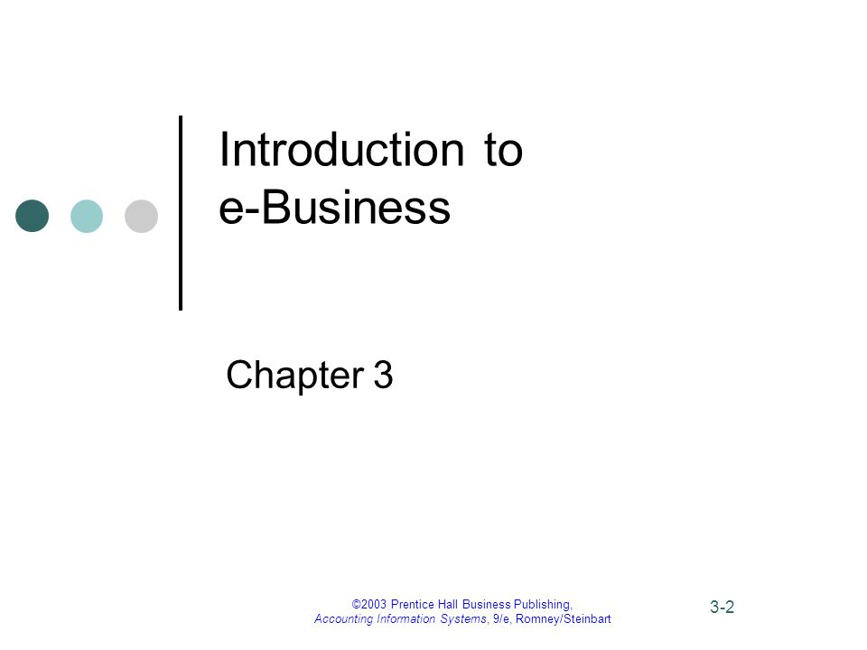 ©2003 Prentice Hall Business Publishing, Accounting Information Systems, 9/e, Romney/Steinbart 3-2 Introduction to e-Business Chapter 3
