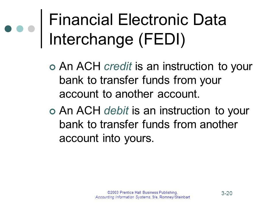 ©2003 Prentice Hall Business Publishing, Accounting Information Systems, 9/e, Romney/Steinbart 3-20 Financial Electronic Data Interchange (FEDI) An ACH credit is an instruction to your bank to transfer funds from your account to another account.