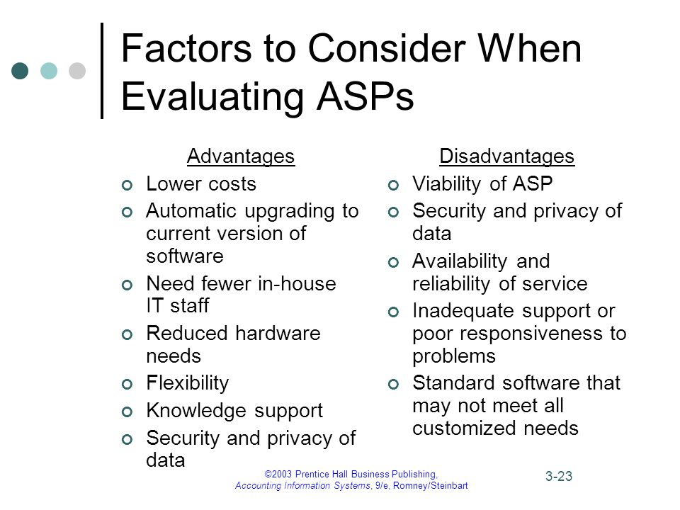 ©2003 Prentice Hall Business Publishing, Accounting Information Systems, 9/e, Romney/Steinbart 3-23 Factors to Consider When Evaluating ASPs Advantages Lower costs Automatic upgrading to current version of software Need fewer in-house IT staff Reduced hardware needs Flexibility Knowledge support Security and privacy of data Disadvantages Viability of ASP Security and privacy of data Availability and reliability of service Inadequate support or poor responsiveness to problems Standard software that may not meet all customized needs