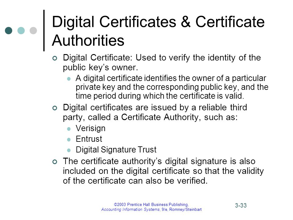 ©2003 Prentice Hall Business Publishing, Accounting Information Systems, 9/e, Romney/Steinbart 3-33 Digital Certificates & Certificate Authorities Digital Certificate: Used to verify the identity of the public key's owner.