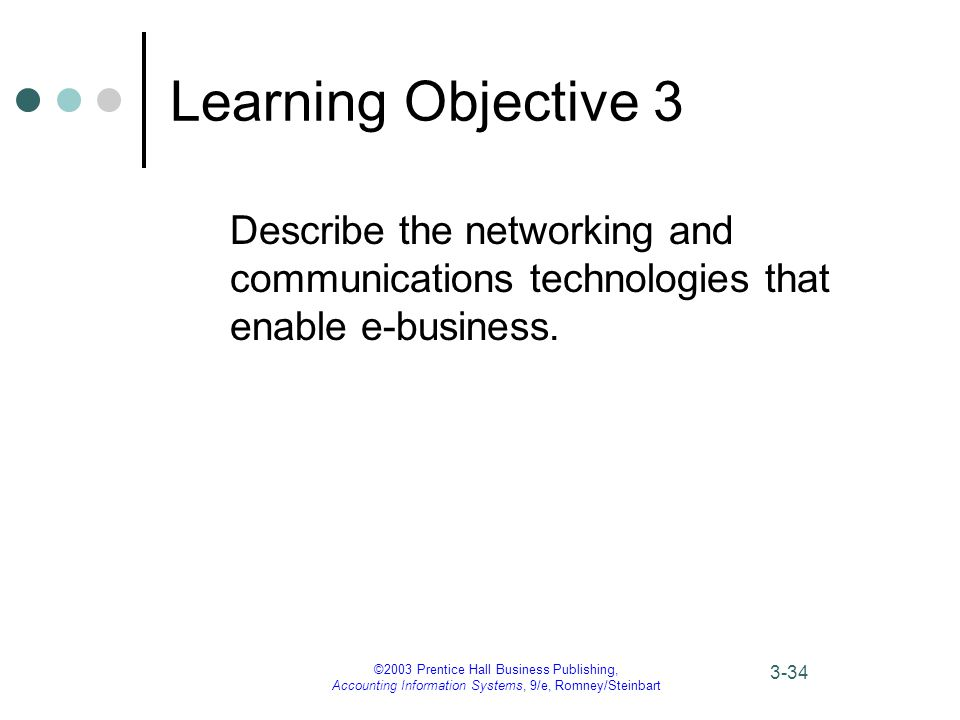 ©2003 Prentice Hall Business Publishing, Accounting Information Systems, 9/e, Romney/Steinbart 3-34 Learning Objective 3 Describe the networking and communications technologies that enable e-business.