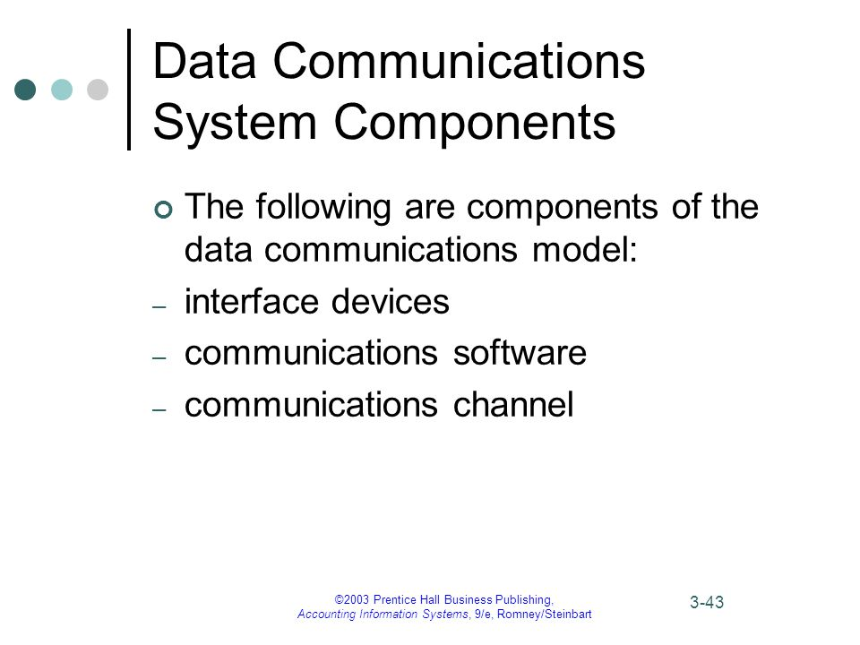 ©2003 Prentice Hall Business Publishing, Accounting Information Systems, 9/e, Romney/Steinbart 3-43 Data Communications System Components The following are components of the data communications model: – interface devices – communications software – communications channel