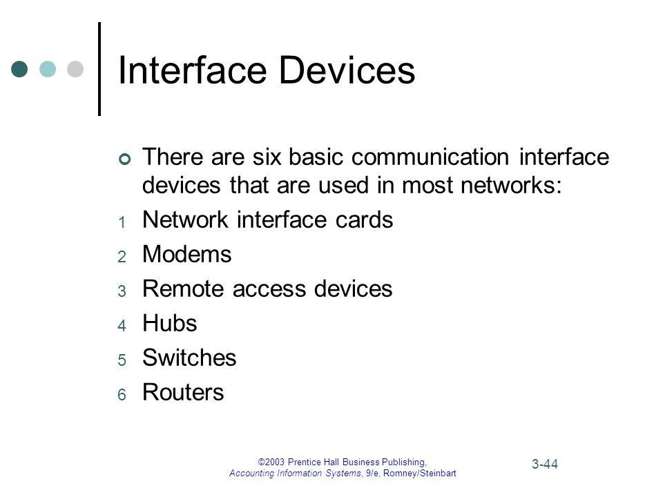 ©2003 Prentice Hall Business Publishing, Accounting Information Systems, 9/e, Romney/Steinbart 3-44 Interface Devices There are six basic communication interface devices that are used in most networks: 1 Network interface cards 2 Modems 3 Remote access devices 4 Hubs 5 Switches 6 Routers