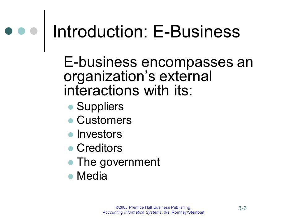 ©2003 Prentice Hall Business Publishing, Accounting Information Systems, 9/e, Romney/Steinbart 3-6 Introduction: E-Business E-business encompasses an organization's external interactions with its: Suppliers Customers Investors Creditors The government Media