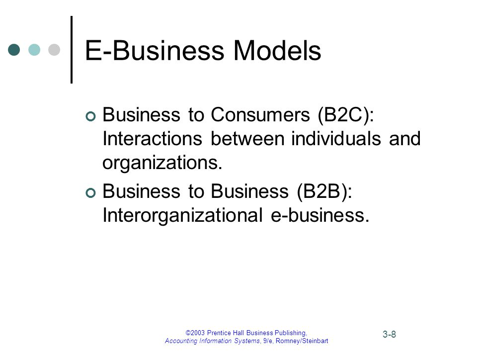 ©2003 Prentice Hall Business Publishing, Accounting Information Systems, 9/e, Romney/Steinbart 3-8 E-Business Models Business to Consumers (B2C): Interactions between individuals and organizations.