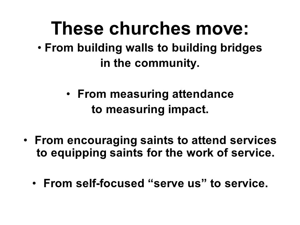 These churches move: From building walls to building bridges in the community.