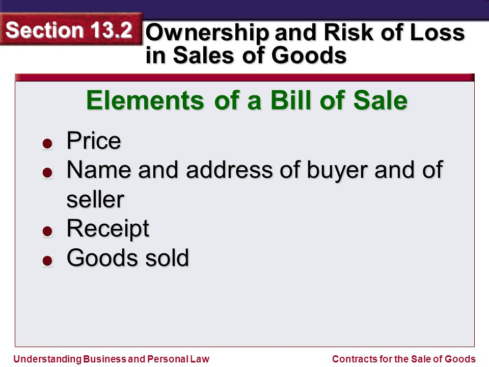 Understanding Business and Personal Law Ownership and Risk of Loss in Sales of Goods Section 13.2 Contracts for the Sale of Goods Price Name and addre